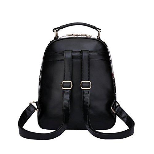 DISSA VS819 neuer Stil PU Leder Deman 2018 Mode Rucksackhandtaschen,250×110×310(mm) Schwarz