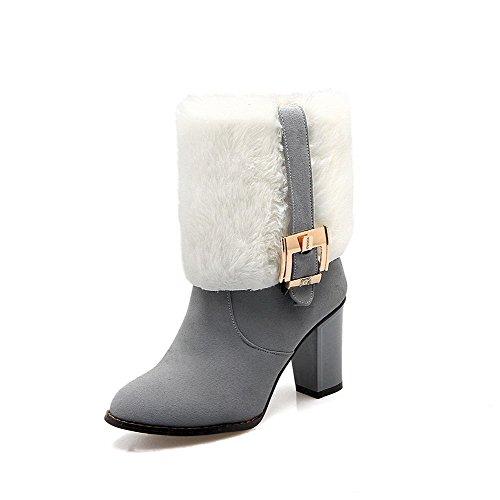 VogueZone009 Donna Punta Tonda Bassa Altezza Tacco Alto Puro Stivali con Fibbia Grigio