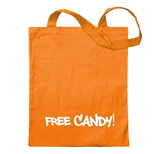 KIWISTAR - Free Candy Jutebeutel in 12 verschiedenen Farben - Tragetasche bedruckt Design Sprüche Spruch Motive Baumwolltasche Print Stoffbeutel Umhängetasche langer Henkel (Orange Mandarin Candy)