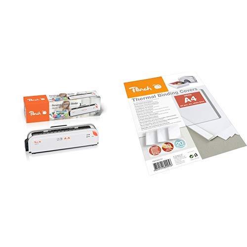 Peach PB200-70 Thermobindegerät DIN-A4 | Testsieger* | schnell startklar | nur 1 min. Bindezeit | einfachstes und schnellstes Bindesystem & Peach PBT303-01 Thermobindemappe 20 Stück, weiß