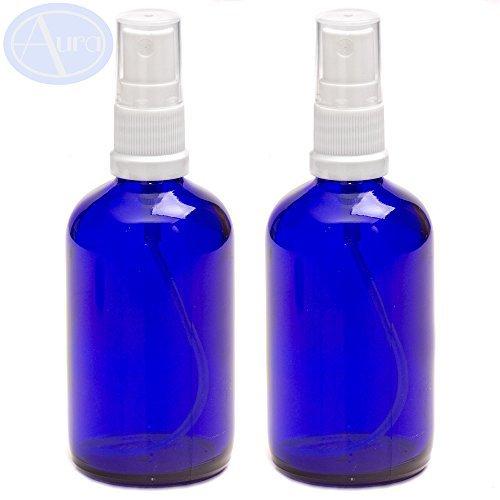 Packung von 2 - 100ml BLAU Glasflaschen mit weiß ZERSTÄUBER Sprays. ätherisches Öl / Aromatherapie Gebrauch -