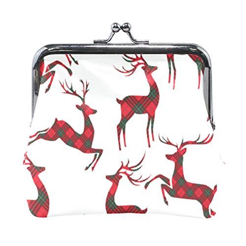 Cartera de Piel con diseño de Ciervo, Color Rojo y Negro
