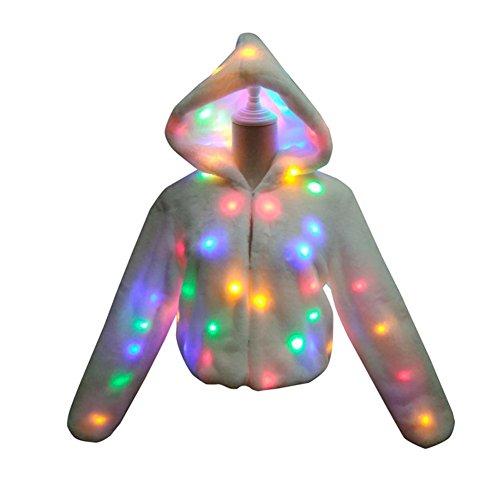 PanDaDa Frau Mit Kapuze Faux Pelzjacke mit LED Leuchten Leuchtend Holloween Weihnachten Leistungskostüm