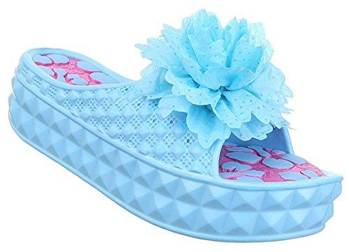 Damen Sandalen Schuhe Pantoletten Mules offen Sommerschuhe schwarz pink blau weiss 36 37 38 39 40 41 blau Modell 1