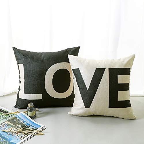 JOTOM Fodera per Cuscino Moda Lettera Griglia Modern Linen Federa per Divano Home Living Room Bedroom Interior Decoration, 45x45cm, Set di 2 Pezzi (Love)