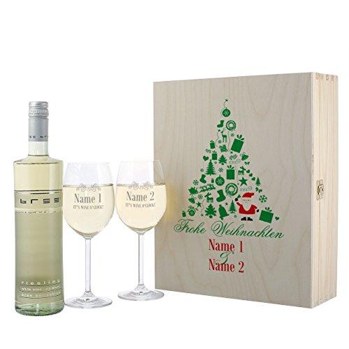 Leonardo BREE Riesling Weinset mit 2 gravierten Gläsern zu Weihnachten in Premium...