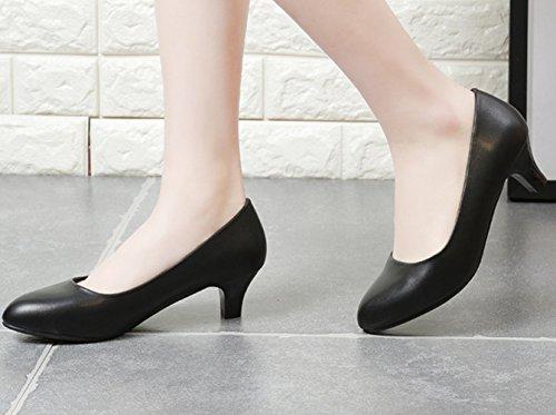 Damen Pumps Slip On Blockabsatz Arbeitsschuhe Einfache Slippers Schwarz