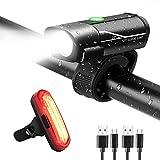 Fahrradlicht LED Set, Gretrue USB Wiederaufladbere Wasserdicht Fahrradlampe Set, Fahrradbeleuchtung für Nachtfahrer, Radfahren( Frontlicht Rücklicht)