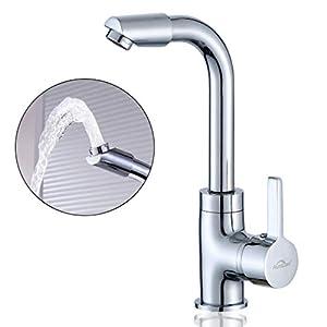Auralum® Grifo de cocina de presión normal Quadra Grifo de cuerpo de cobre con forma de»7″ giratorio 360 ° adecuado para cocina y baño