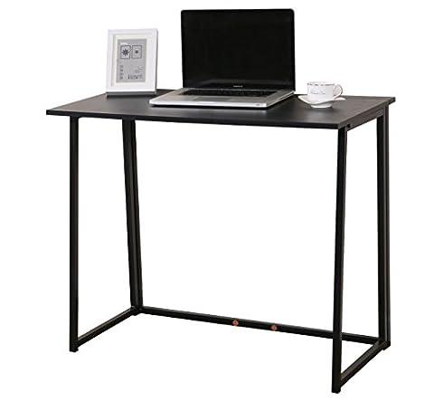 CherryTree Furniture Compact Folding Computer Desk Laptop Desktop Table in Black