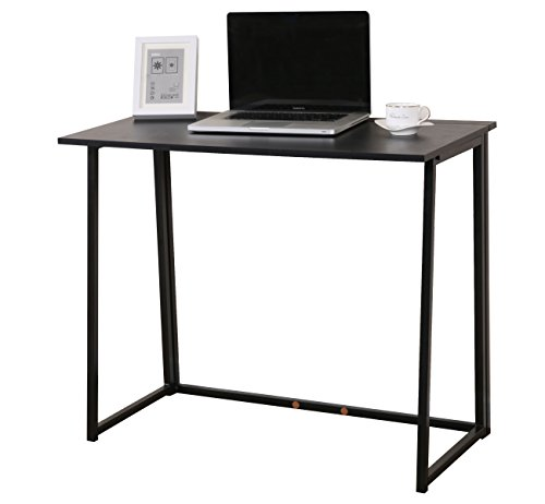 Cherry Tree Furniture Compact Folding Computer Desk Laptop Desktop Table in Black