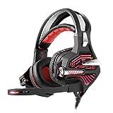 Tlgf Gaming Kopfhörer, LED 3,5 Mm Stereo-Stirnband Headset Beleuchtung MIC Für PC 7,1 Dolby Surround Mit Geräuschkulisse,Red