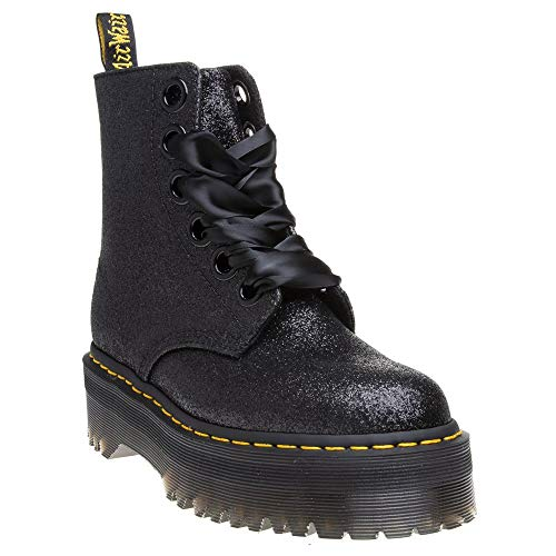 Dr. Martens Donna Nero Glitter Molly Stivali-UK 7