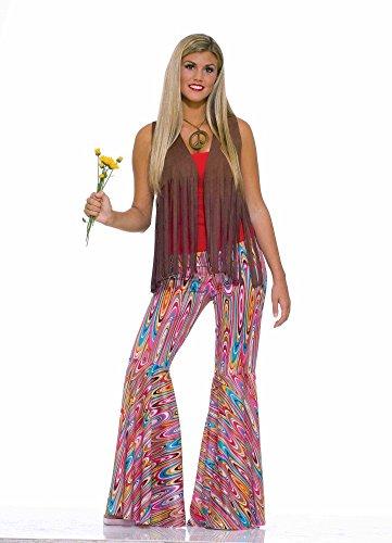 (70er Jahre Hippie Schlaghose Pink/Türkis Wild Swirl Retro-Muster Gr. S Hose Damen-Kostüm)
