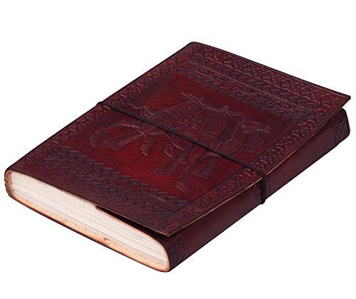 WINTER Angebot des Tages - SouvNear Leder Tagebuch Notizbücher Reisetagebuch Blanko mit Handgefertigt Papier, Handgefertigt Kamel geprägt Ungefüttert Seiten, Bürobedarf & Schreibwaren, 25.9 cm, Braun