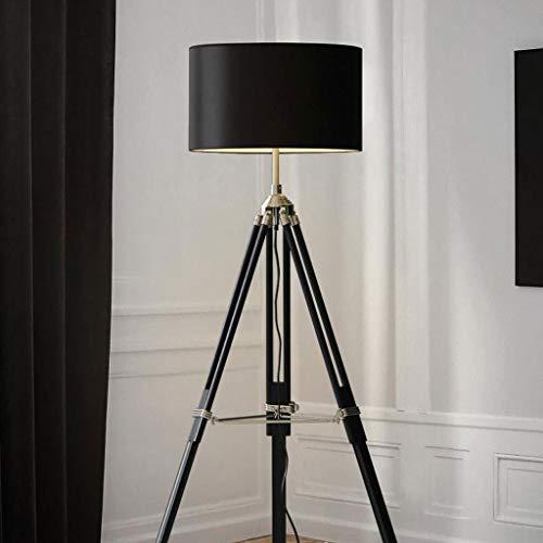 Lampadaires- Lampadaire trépied en lin nordique moderne minimaliste créatif salon chambre étude lampe de table verticale (Color : Black (without bulb))