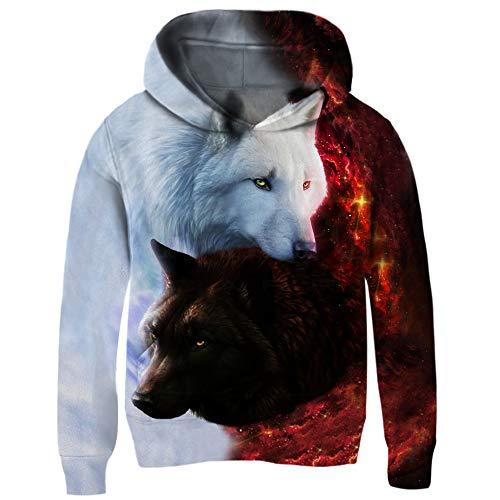chicolife Unisex Kapuzen 3D Neuheit Wolf Taschen Pullover Sweatshirt für Jungen Mädchen 3-14y -