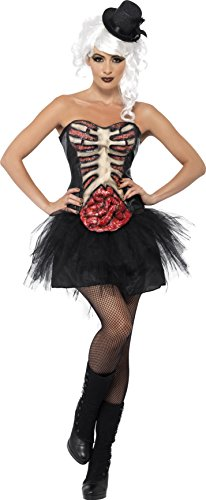 Smiffys, Damen Grotesk Burlesque Kostüm, Korsett mit Latex-Brustkrob und Darm, Größe: S, 41029