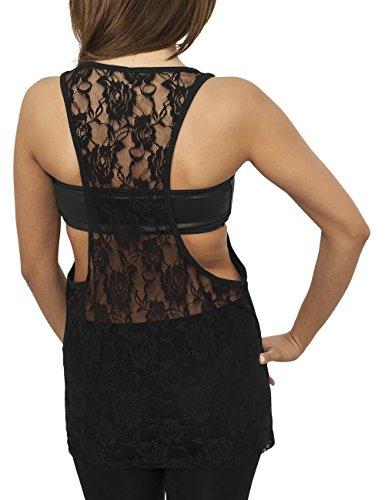 Urban Classics Ladies Flower Laces Loose, Tank Top Donna Nero (Black 7)