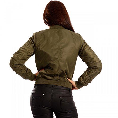 Damen Bomberjacke Zipper Fliegerjacke Pilotenjacke Khaki