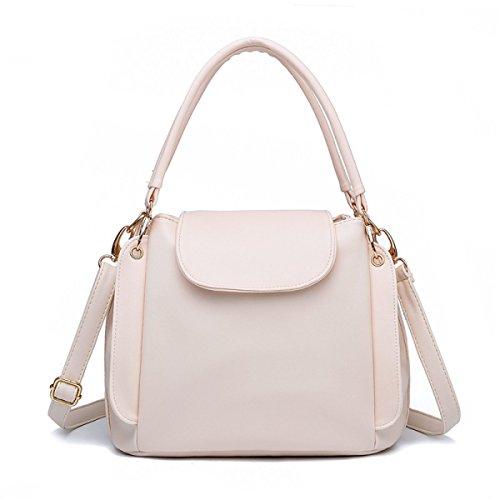 Sacchetto Di Spalla Portatile Signora Messenger Bag Secchiello Tre Cerniera Beige