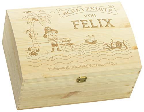 LAUBLUST Holztruhe mit Gravur - Personalisiert mit ✪ Name | WIDMUNG ✪ - Natur, Größe L - Piraten Motiv - Schatztruhe mit Verschluss zum Verschenken
