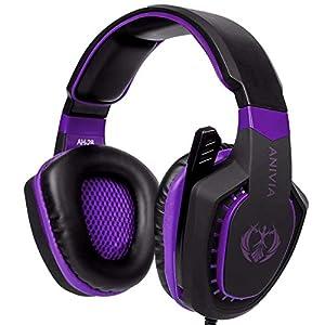 PS4 Gaming Headset Anivia AH28 Stereo Kopfhörer 3,5 mm mit Mikrofon für PC/Mac/Xbox One (Violett)