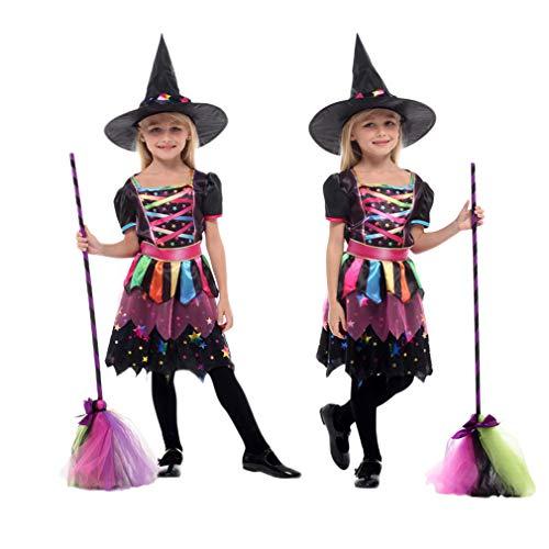 Gift Tower 2er Hexen kostüm Mädchen Hexenkleid Regenbogen Kinder Halloween Kostüm für Halloween Karneval Fasching Cosplay (Mehrfarbig, M/für 110-120cm) (Hexe Regenbogen Kostüm)