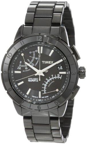 Timex T2N500AU – Reloj analógico de caballero de cuarzo con correa de acero inoxidable negra