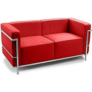 Canapé design style LC3 (2 places) Le Corbusier - Simili Cuir Rouge