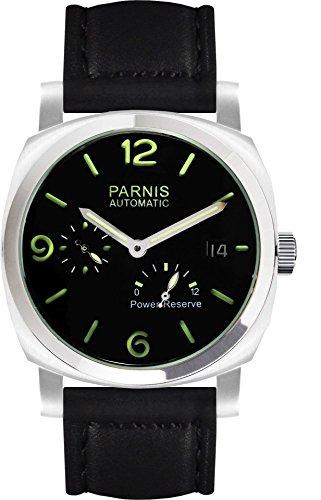 PARNIS 9079 sportliche Edelstahl-Automatik-Uhr 5BAR wasserdicht 44mm Mineralglas Herrenuhr Gangreserve-Anzeige Lederarmband Seagull Markenuhrwerk Kaliber ST25