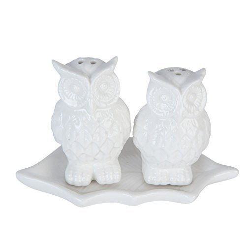 Eulen auf Blatt weiße Keramik Salz & Pfeffer Streuer Set 11.5cm x 5cm x 7.5cm