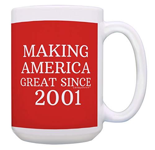 Geburtstagsgeschenke für alle Herstellung, American Great Since 2001, Kaffeetasse 15 oz Red