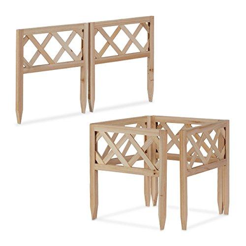 Relaxdays Steckzaun Holz Set, Gartendeko, Niedrige Beeteinfassung & Zierzaun, Erdspieße, erweiterbar, 30x30cm, Natur