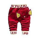 Allence Unisex Baby Sweat-Hose, Babyhose in Jeans-Optik mit Elastischem Bauchumschlag Jogginghose mit Elefanten Muster