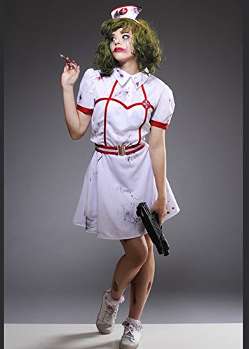 8in1 Erwachsener Die Joker-Stil Krankenschwester Bloody Kostüm Medium (UK 12-14) (Das Joker Kostüm Krankenschwester)