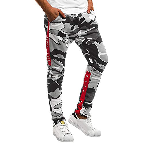 Casual Cotton Patchwork d'automne pour Homme Pantalon de Pantalon de Jogging Zipper Sports Run Gym Jogger Kinlene