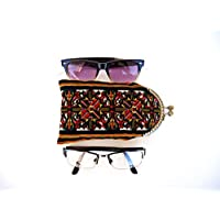 Cord velvet clasp glasses case for women, Retro kiss lock frame glasses pouch, Sunglasses sleeve, Padded spectacle pouch