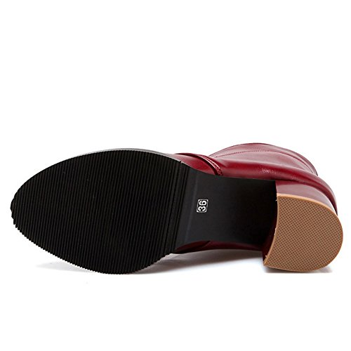 TAOFFEN Damen Klassischer Blockabsatz Knoechel Stiefel Schnürung Kurze Stiefel Rotwein