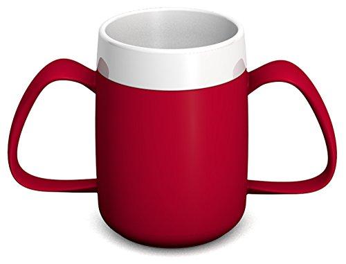 Ornamin 2-Henkel-Becher mit Trink-Trick 140 ml rot (Modell 815) / Spezial-Trinkhilfe, Tremor-Becher