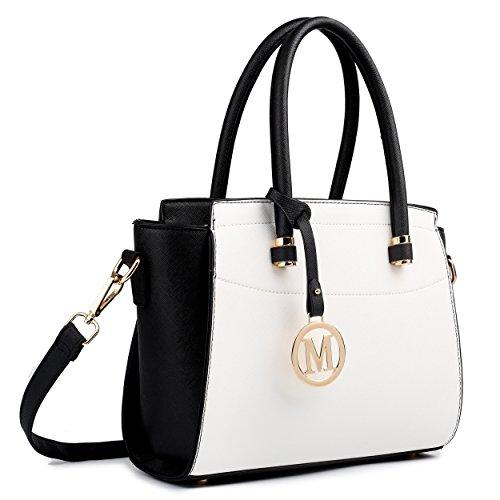 Miss Lulu , Damen Schultertasche M Kleine Ledertasche Shopper Handtasche Faux Leder Schwarz / Weiß Schwarz / Weiß