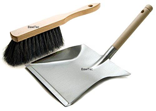 BawiTec Kehrgarnitur weich schwarz Kehrschaufelgarnitur Set und Handfeger Metall-Kehrschaufel Kehrset