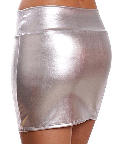 DELEY Donna Lucido Metallizzato Liquido WetLook Clubwear Parte Breve Mini Gonne Argento