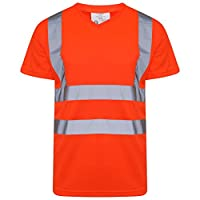 Shop Online Hi Viz Vis V Neck T Shirt High Visibility Reflective Tape Safety Security Work Top (5XL, Orange)