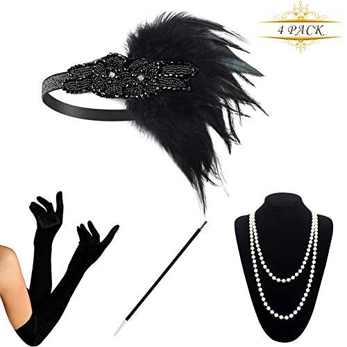 Kostüm Stirnband Zubehör Flapper - KQueenStar 1920er Jahre Zubehör Set Flapper Kostüm Accessoires für Damen 20s Gatsby Jahre Stirnband Kopfschmuck Perlen Halskette Handschuhe Zigarettenspitze (Black6) (Black6)