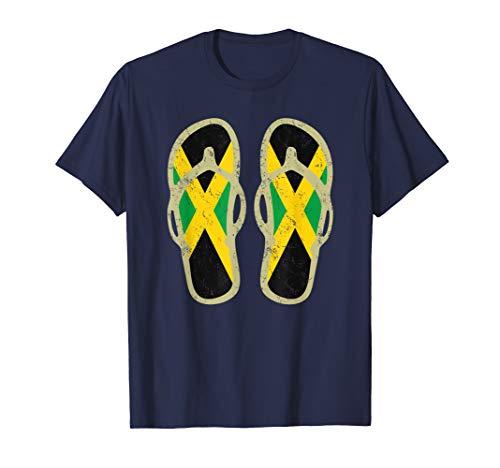 Jamaika Flagge Retro Jamaican Flip Flops T-Shirt