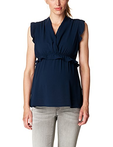 ESPRIT Maternity Damen Umstands Blusen Blouse Sl P84312, Blau (Night Blue 486), 38 (Herstellergröße:38)
