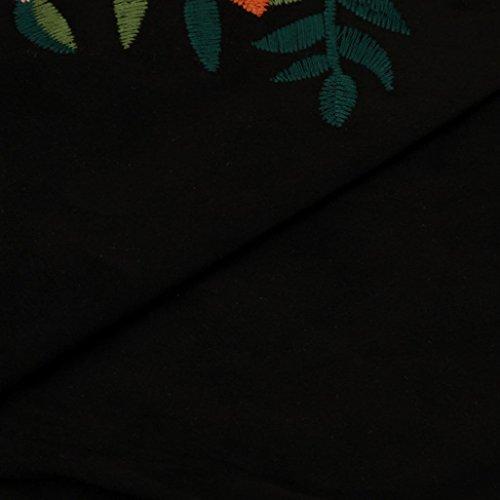 Bluestercool Femmes Gilet Floral à la Broderie Sans manches Sexy Shirt Noir