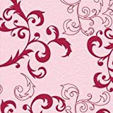 Servietten Unique Barockranke Rosa, (23L010), 17 Stück Prägeservietten, 33 x 33 cm Lunch Serviette, in wiederverschließbaren Box, ohne Randpräge für den gedeckten Tisch Anlass, Hochzeit, Taufe, Kommunion, Weihnachten, Ostern