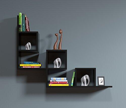 Homidea tail mensola da muro - mensola parete - mensola libreria - scaffale pensile per studio/soggiorno in un design moderno (nero)